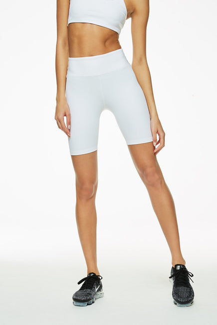 Ribbed Biker Short by Year of Ours in White 1