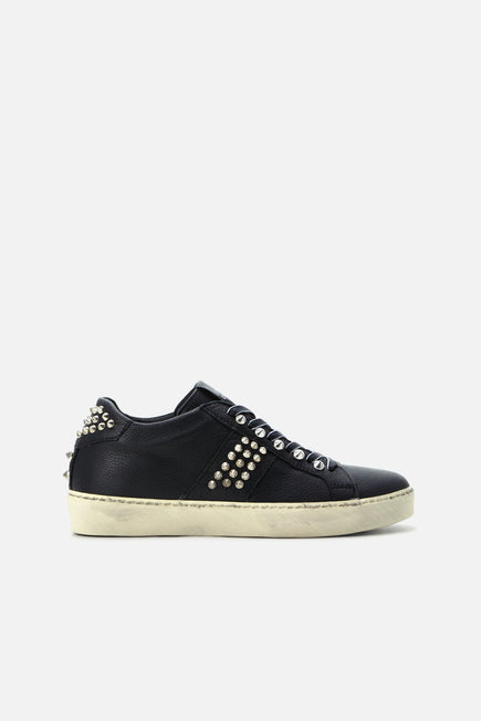 Iconic Stud Low Top Sneaker by Leather Crown in Black 1