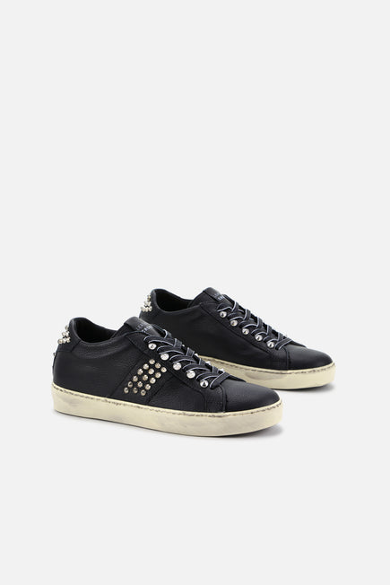 Iconic Stud Low Top Sneaker by Leather Crown in Black 3
