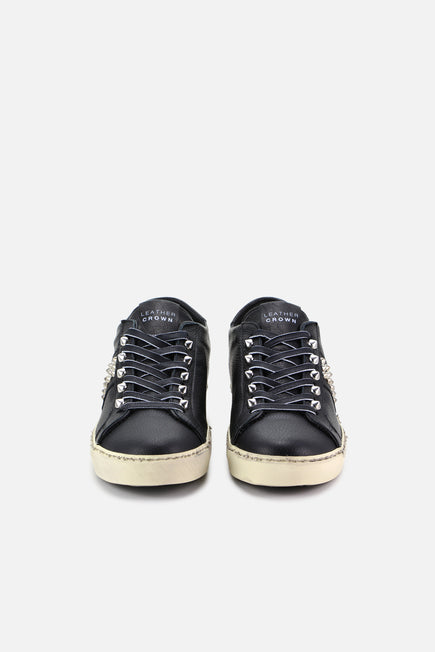 Iconic Stud Low Top Sneaker by Leather Crown in Black 4