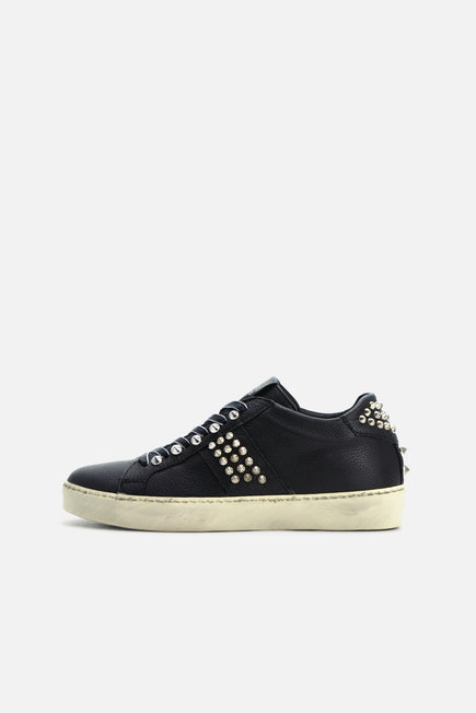 Iconic Stud Low Top Sneaker by Leather Crown in Black 2