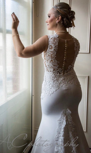 Half Lace Custom Made Bridal Gown