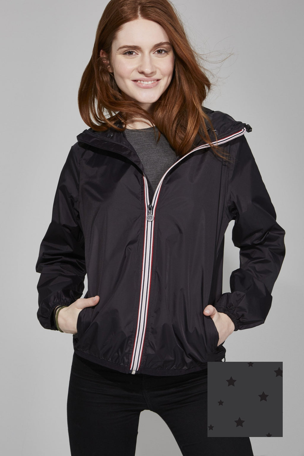 Sloane - Gloss Stars Black Full Zip Packable Rain Jacket