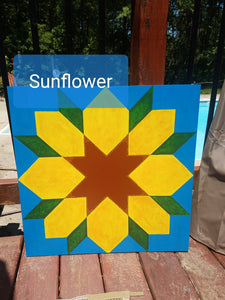 Sunflower DIY etched wood Barn Quilt
