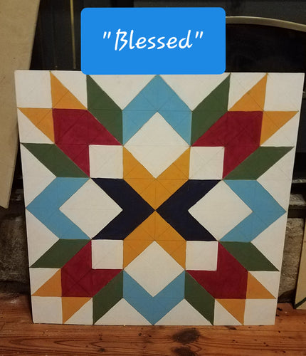 Blessed Wood Etched Barn Quilt