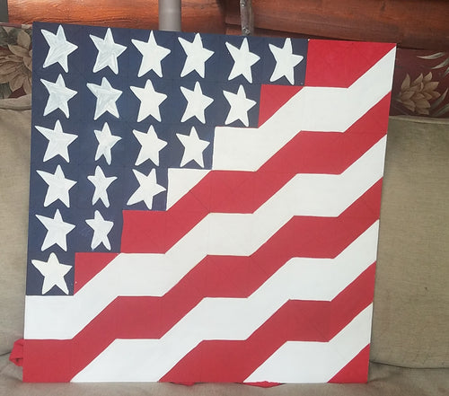 Wave the Flag DIY Etched Lined Barn Quilt
