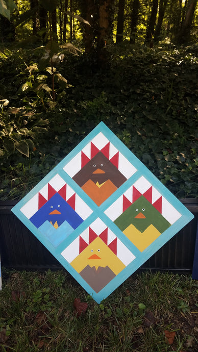 Happy Chickens DIY Paint Wood Etched Barn Quilt