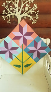 """Bloom Where You Are Planted""- Etched Wood Barn Quilt DIY Paint"