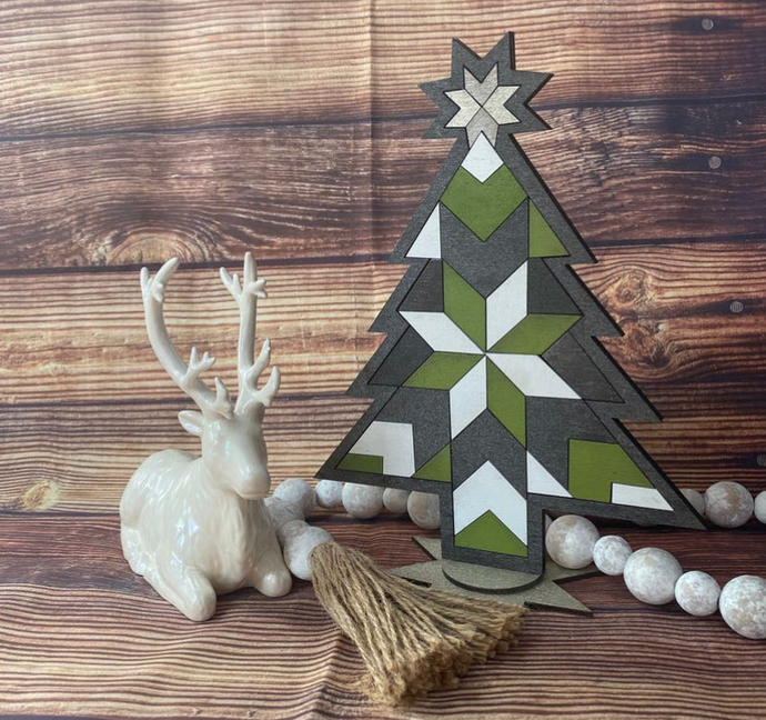 Mosaic Wood Barn Quilt DIY Paint Christmas Tree