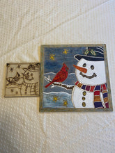 Load image into Gallery viewer, Snowman and Cardinal Friends DIY paint wood etched design