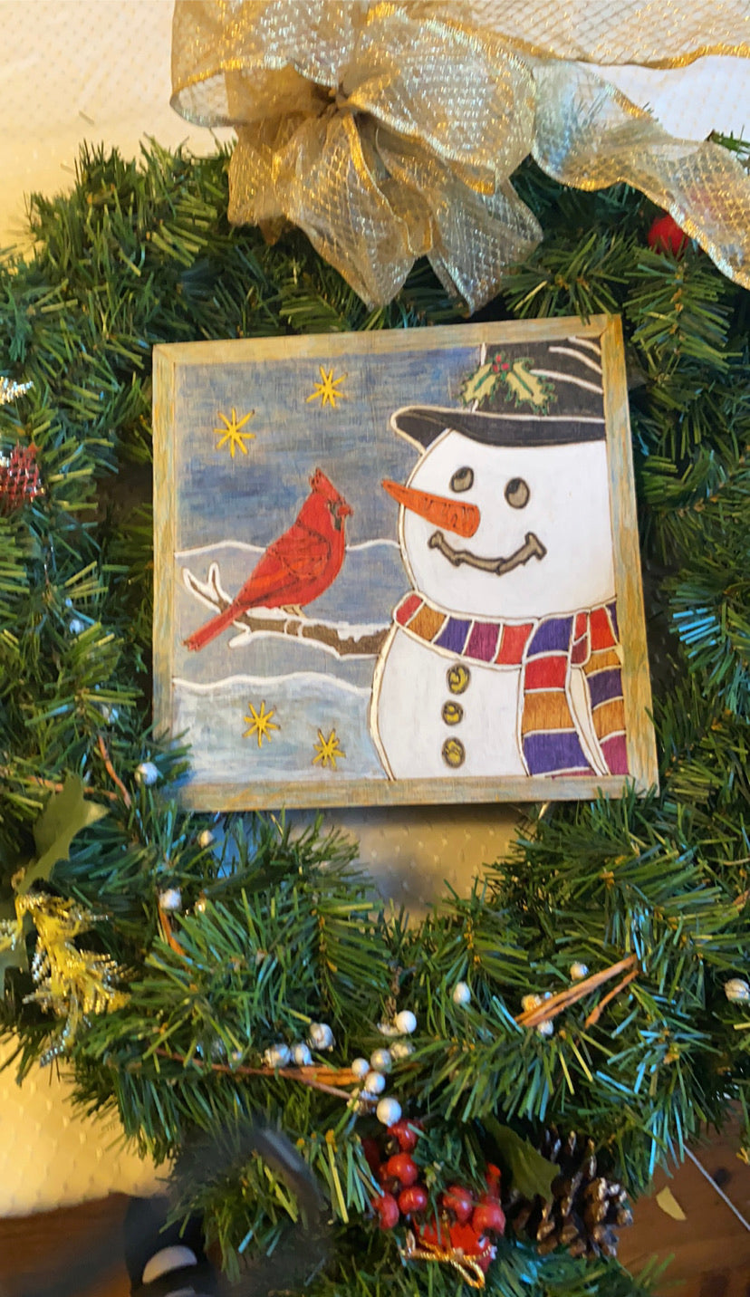 Snowman and Cardinal Friends DIY paint wood etched design