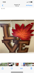 "DIY Paint Unfinished ""Love Fall"" Wood CutOut Door Hanger"