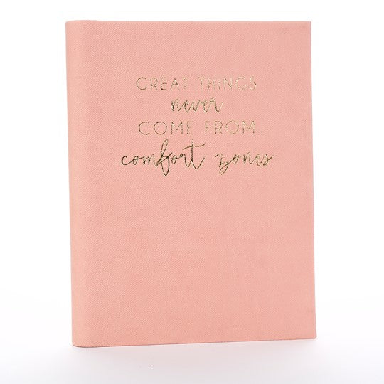 Inspirational Pink Salmon Journal Notebook - Great Things Never Come From Comfort Zones