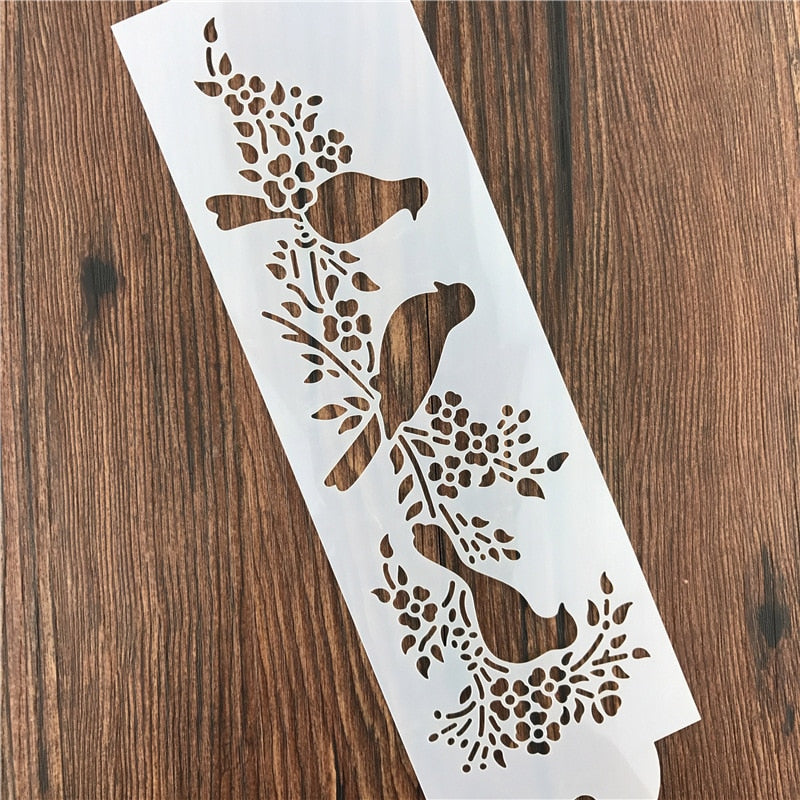 Bird Stencil for Decor, mixed media, painting and Scrapbooking Art Ablum Diary Stamp Crafts
