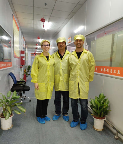 the imagiLabs team on a factory tour in Shenzhen, China