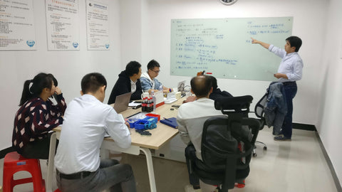 Testing procedure review in the factory meeting room