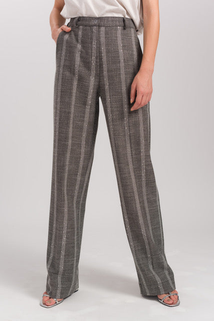 Gray Striped Wide Cut Trousers