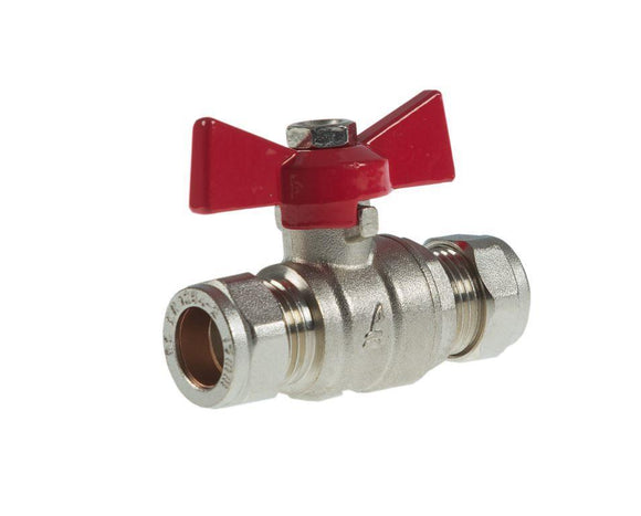 28mm Red Butterfly Valve - WRAS