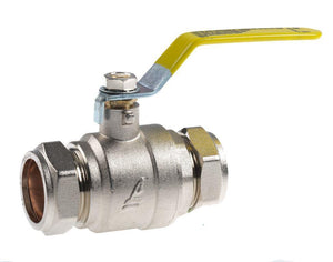 35mm Lever Ball Valve - Yellow