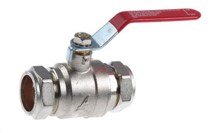 35mm Lever Ball Valve - Red