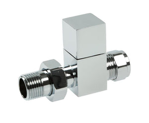 Square Straight Rad Valve Pair, 15mm CP