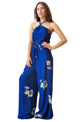 Blue Batik Wrap Jumpsuit