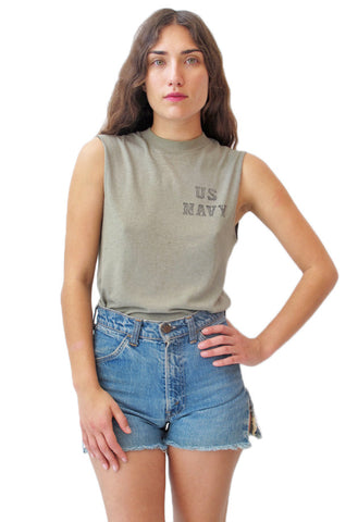 Army Green US Navy Sleeveless T-Shirt