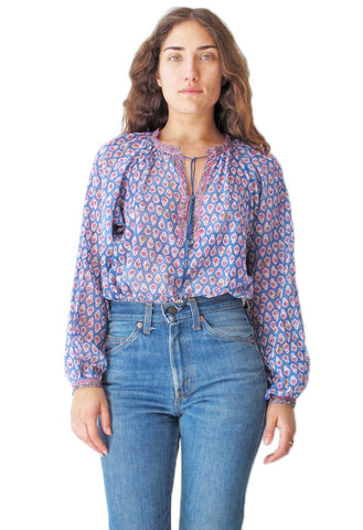 Blue Indian Cotton Gauze Peasant Blouse