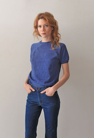 Blue Short Sleeve Sweatshirt
