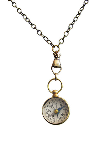 LUX REVIVAL Compass and Hand Charm Necklace