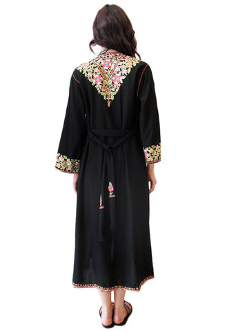Black Floral Kashmir Embroidered Robe