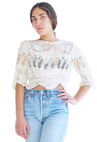 Antique Eyelet & Roses Lace Top