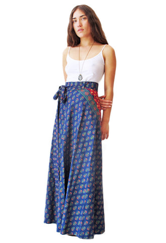 Blue Batik Indian Maxi Wrap Skirt