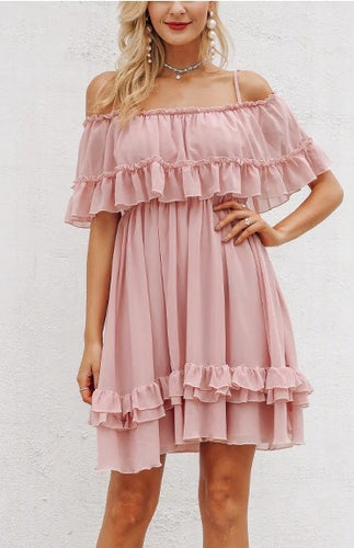 OFF SHOULDER STRAP CHIFFON RUFFLE PLEATED MINI DRESS