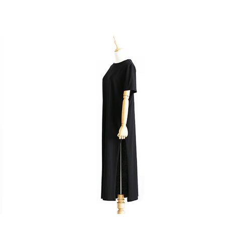 T-SHIRT DRESS FOR WOMEN BANDAGE BODYCON BLACK LONG DRESS