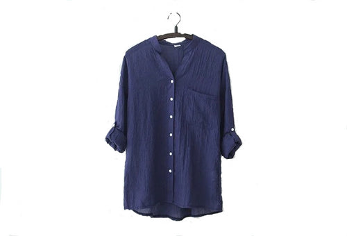 LOOSE COTTON LINEN BLOUSE SLEEVES SHIRT FOR WOMEN