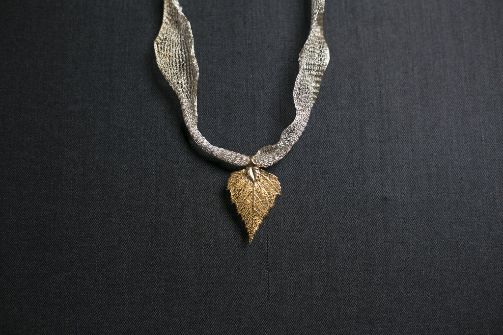 Rose Gold Real Leaf Necklace