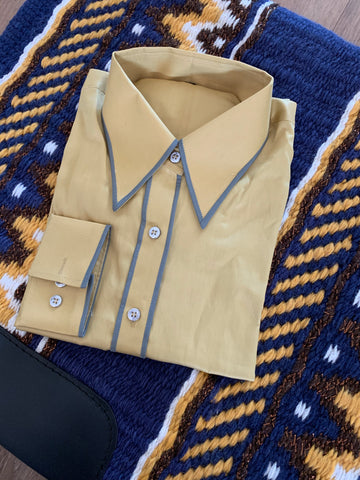 Tan Button Up Shirt With Grey Piping