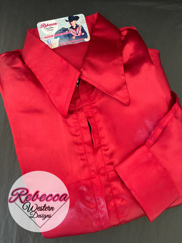 Red Satin Zip Front Show Shirt