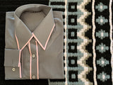 Grey Zip Front & Button Up Shirt With Pink Piping