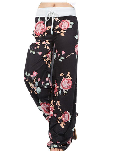 Drawstring Casual Floral Wide Leg Yoga Pants
