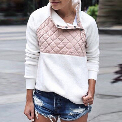 Women's Fashion Stitching Oblique Collar Sweatshirt
