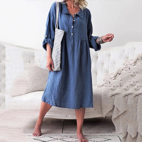 Casual A Lapel Plain Color Long Sleeve Midi Dress