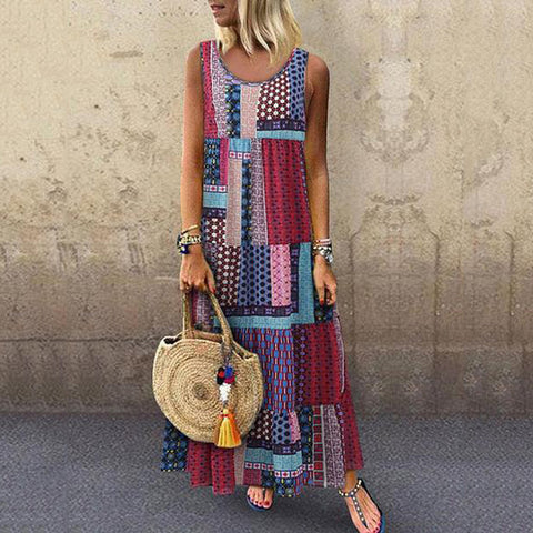 Casual Printed Sleeveless Maxi Dress