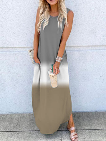 Round Neck Sleeveless Crew Neck Casual Maxi Dress