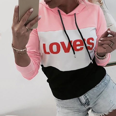 Fashion Colouring Letters Hooded Drawstring Long Sleeves Sweatshirts