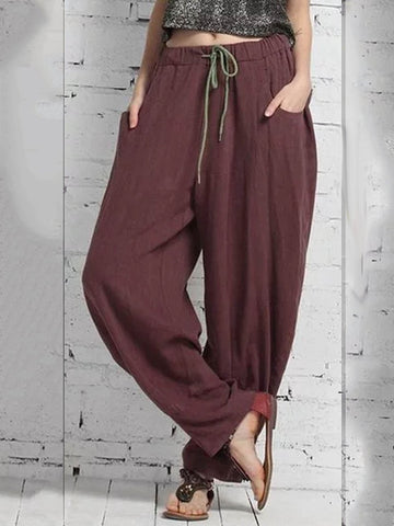 Deep Red Cotton-Blend Solid Casual Pants