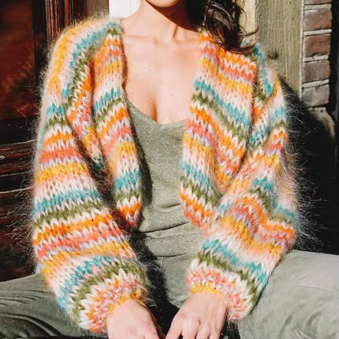 Color Sweater Knit Cardigan