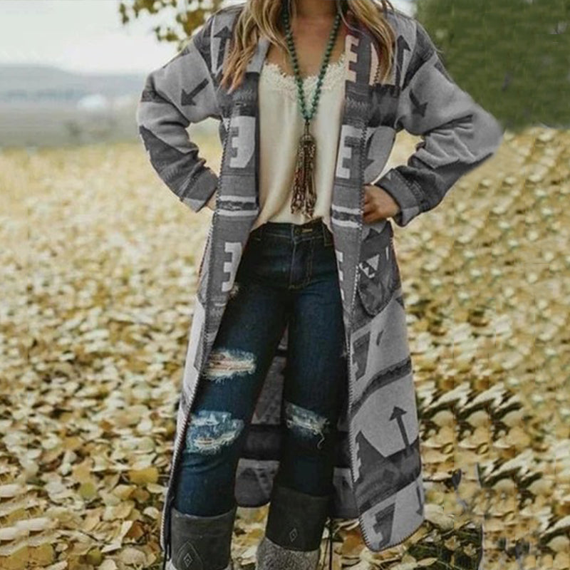 Color Block Contrast Printed Long Cardigan Coat