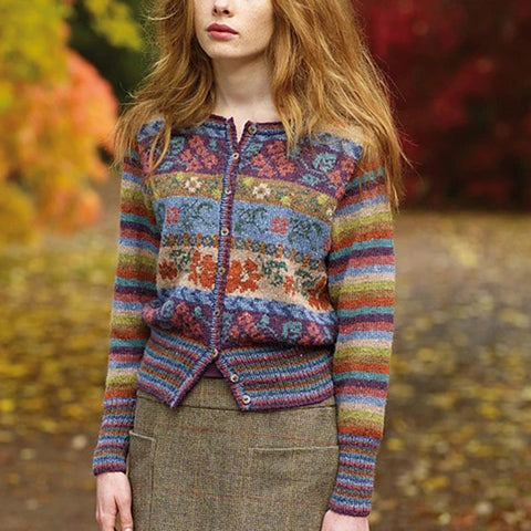 Retro Ladies Chromatic Printed Color Sweater Cardigan